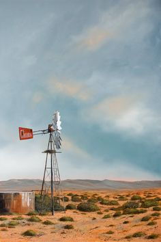 Karoo landscapes by Donna McKellar, South African artist Landscape Photos, Landscape Art, Landscape Paintings, Landscape Photography, Farm Windmill, Old Windmills, South African Artists, Le Moulin, Pictures To Paint