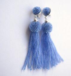 tassel earrings sapphire blue fringe glass beads  by Donauluft