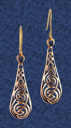 """Bronze Celtic Teardrop Earrings - Lacy and lovely. The filigree pattern in this Celtic knot is slightly domed to give a smoother, more finished appearance. Timeless beauty that will never lose its appeal. These bronze earrings measure 1 5/8"""" overall, including the hooks. For pierced ears only"""