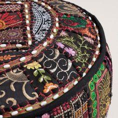 Black Bohemian Boho Moroccan Patchwork Pouf Ottoman - GoGetGlam