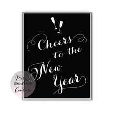 Cheers New Years Eve Printable Sign by PurplePeonyCouture on Etsy