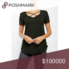 COMING SOON! I am excited to list my first ever boutique item!! It's a super cute strappy v neck! They come in tomorrow and will be posted in the next day or two! They will be listed at $25.  Please leave a comment below if you would like to be tagged when the listing is available 💕😘 Tops Tees - Short Sleeve