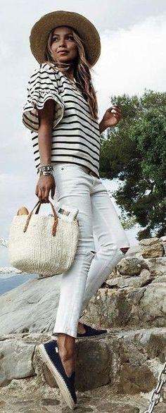 #summer #fashion #outfitideas Nautical Stripes + Denim