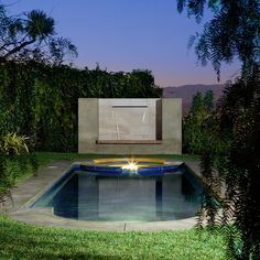 #outdoor #pool #nightview #custom #design #waterfeauture #interiordesign #archinteriors