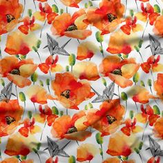 Paperskin Poppy Field in Flame - to go with the stripes Poppy, Stripes, Flowers, Fabric, Tejido, Tela, Cloths, Fabrics, Royal Icing Flowers