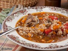 Amish Beef Barley Soup     -    The Pennsylvania Dutch people take advantage of their gardens whenever possible, and this easy version of a classic hearty Amish Beef Barley soup is chock full of veggies for a healthy stick-to-your-ribs main dish soup.   Serves: 8