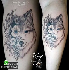 Tatuagem lobo, tattoo lobo com flores! Baby Dragon Tattoos, Baby Tattoos, Cute Tattoos, Beautiful Tattoos, Body Art Tattoos, Small Tattoos, Wolf Tattoos For Women, Sleeve Tattoos For Women, Tattoos For Guys