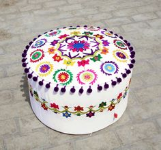 Pouf white base multicolor embroidery suzani pattern by VLiving