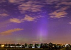 Purple haze: Residents near the town of Maldon were treated to the night time spectacular which is very rarely seen anywhere in the South of England