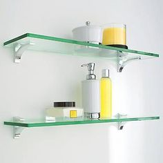 The Container Store > Glass Shelf Clip Kits.  (Quantity: 2 - above the toilet)