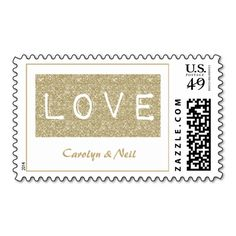Chic Modern Gold Faux Glitter Love Wedding Postage Stamp