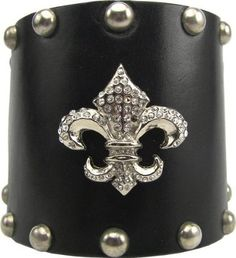 Wide Leather Swarovski Crystal Fleur Di Lis Cuff Bracelet