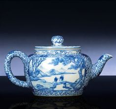 RARE INSCRIBED BLUE AND WHITE TEAPOT AND COVER | Chinese Ceramics ...