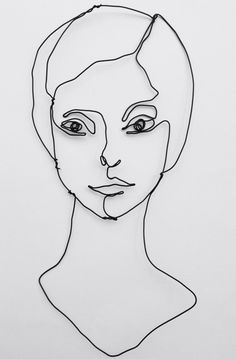 Wire wall art face of woman in wire modern art от morphingpot