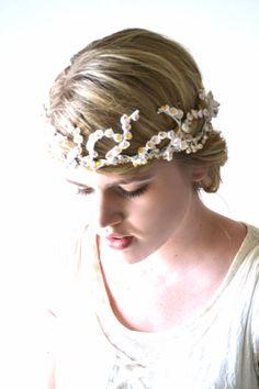 Gold Wedding Tiara Bridal Crown White Bridal Hair by hazelfaire, $68.00