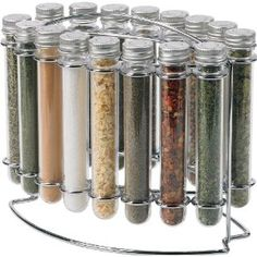 Creative storage solution for commonly used spices.  Bringing a little science into the kitchen. Love this!