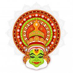 Illustration of Kathakali dancer face on mandala pattern backgro - Stock , 3d Art Painting, Kerala Mural Painting, Wall Painting Decor, Indian Art Paintings, Fabric Painting, Painting Tips, Abstract Paintings, Oil Paintings, Watercolor Painting
