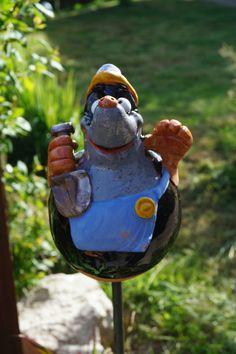Gartenkugel Maulwurf Terrasse Handarbeit Beetstecker Deko Tierfigur Keramik Ton