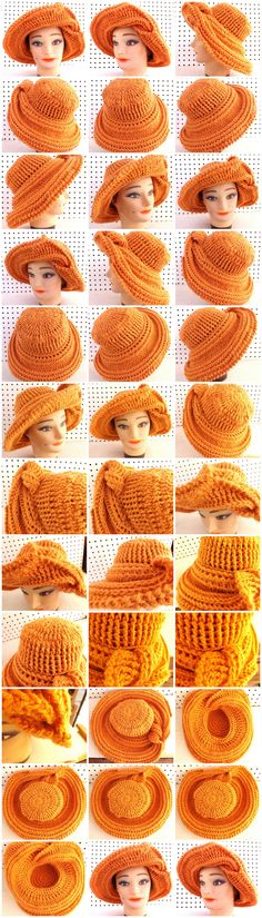 Crochet FRONTIER SUN Wide Brim Hat in Desert Glaze Orange