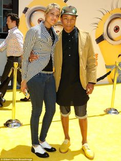 Fashionable pair: Pharrell Williams was joined by his fiancee Helen Lasichanh and they both looked stylish in oxfords - this broke my heart. :(