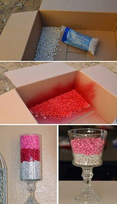 Spray Painted Beans - a cute and cheap vase filler  For bridal show...fill the extra candy bowls on candy buffet.