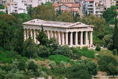 The Temple of Hephaestus or Thissio as it is called by the Athenians is located in Thission, within the area of the Ancient Agora of Athens (entrance from Monastiraki at Adrianou street) and very close to Areios Pagos and the Acropolis. Parthenon, Acropolis, Corinth Canal, Greece Travel, Greece Trip, Classical Greece, World's Fair, Athens Greece, Ancient Greece