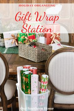 Make gift wrapping a breeze with the ideas for gift wrap storage! Once items are organized, you'll be able to wrap at a moment's notice. #giftwrapstation #giftwrapstorage #holidaywrapping #giftwrap #thecontainerstore #giftwrapideas