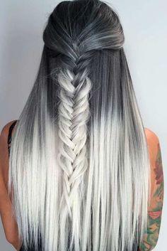 ombre look lange haare graue ansätze hellblonde bis weiße spitzen zopf selber machen