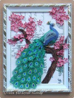 Картина панно рисунок Квиллинг Павлин Бумажные полосы фото 1