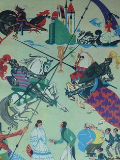 Original 1937 Children's Matted Print  Joust  by PrimrosePrints, £10.00 Joust - Jousting Knights - Castle - Palace - Illustration - Mounted Ready To Frame - Vintage Picture - vintage children's illustration