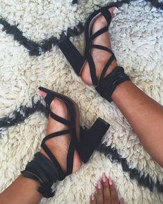 Black strappy heels.