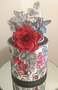 Red and Silver double barrel - Cake by dreamcakes4512