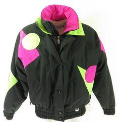 66672a30381 Vintage 80s Neon Ski Jacket Womens 8 Fera Puffy Snowboard Black Retro  Insulated