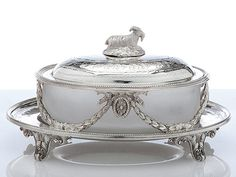 Antique Silver Oval Butter Dish with Goat Handle - Neo-classic Silver Butter Dish with Goat Finial Handle. Maker is James Deakin. Antique Dishes, Silver Spoons, Silver Plate, Silver Cutlery, Vintage Silver, Antique Silver, Butter Dish, Bowls, Crystals