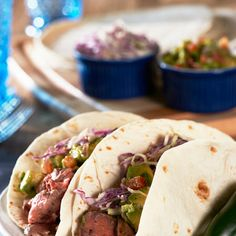 Steak Tacos with Chipotle Slaw & Avocado Salsa (David Venable)