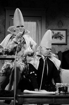 Jane Curtin as Prymaat Conehead Dan Aykroyd as Beldar Conehead during the 'The Coneheads At Home' skit on January 15 1977