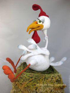 Купить Игрушка вязаная Петух Лаврентий - белый, петух, птица, вязаная игрушка, вязаный петух