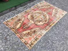 Distressed Rug, Vintage rug, Pastel Rug, 3'8 x 7'5 feet, 206x115 cm, Area rug,Home and Living, Sun Faded  rug, Floor & Rugs 5287 by EclecticRug on Etsy https://www.etsy.com/listing/474818727/distressed-rug-vintage-rug-pastel-rug-38