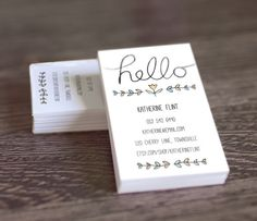DIY Printable Business Card Template - Hello Hand Lettering - PDF Calling Card or Mommy Card