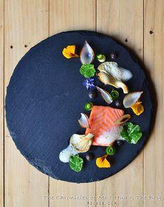 Confit Salmon, Oyster Mushrooms, Yuzu Foam, Leek Ash Mayo