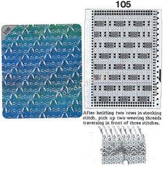 Patrón 105 - patrón de tejer y tarjeta para un Hermano máquina para hacer punto