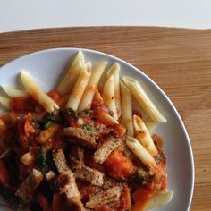 penne with eggplant and spinach sort of tomato sauce