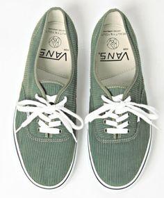Eucalyptus green, corduroy vans.