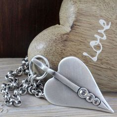 afd279e15 Danon Jewellery Long Large Silver Heart Pendant Necklace with Crystals