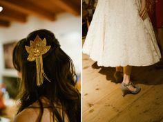 Love that GOLD hair piece - Hudson Valley handmade wedding: Julianne + Jason by Oh Darling! Photography