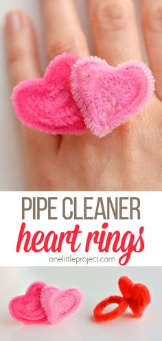 These pipe cleaner heart rings are easy and SO CUTE. They're perfect for Valentines Day or any time. All you need is one or two pipe cleaners and 5 minutes! Kinder Valentines, Valentine Crafts For Kids, Valentines Day Activities, Homemade Valentines, Valentine Box, Valentine Wreath, Valentine Ideas, Valentine's Cards For Kids, Valentine's Day Crafts For Kids