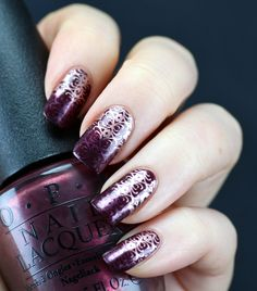 OPI - Sleigh Ride For Two, stamped with China Glaze - Joy and Essie - Penny Talk, with Bundle Monster stamping plate BM314