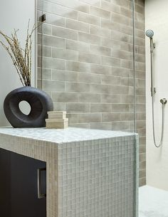 Contemporary bathroom design with a large spa shower, and espresso wood cabinetry in a a tile mosaic facade. From 1 of 10 projects by Lugbill design, discovered on Porch.com