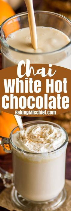 This Chai White Hot Chocolate is smooth and creamy with a warming chai flavor that makes it just about the coziest drink ever. | #HotChocolate | #Chai | #WhiteChocolate | #Drinks | #Christmas |