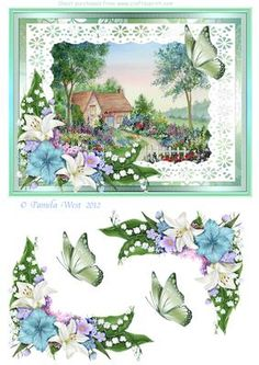 Cottage garden with lilies watercolour decoupage sheet on Craftsuprint - Add To Basket!